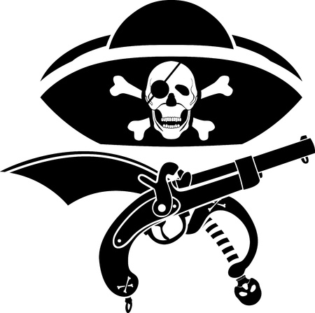 piracy symbol, hat with skull, gun and sabre second variant Vector