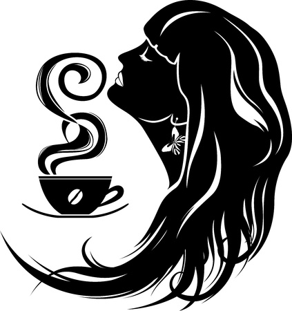 beautiful young woman with coffee cup stencil Vector