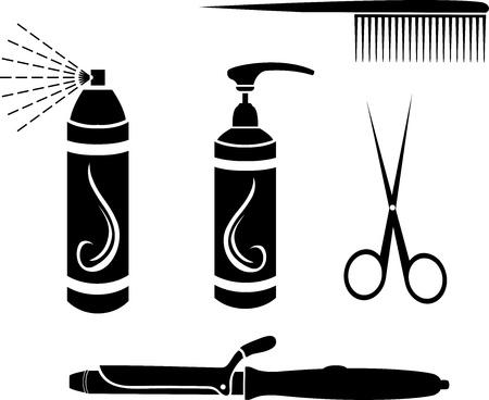 Hairdressing set stencil vector illustration