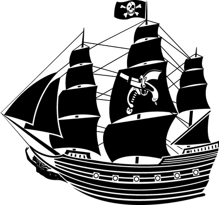 ship sign: Pirate ship with the Jolly Roger and the mermaid Illustration