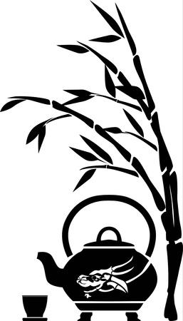 chinese tea cup: T� chino, tetera, taza y el patr�n de bamb�, negro Vectores