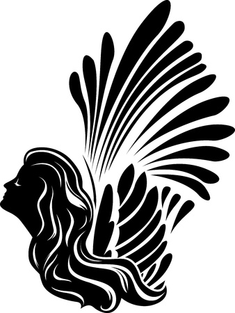Winged muse face, symbol stencil for stickers, vinyl cutting Vector
