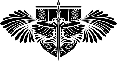 Symbol of protection, sword  with wings and shield Vector