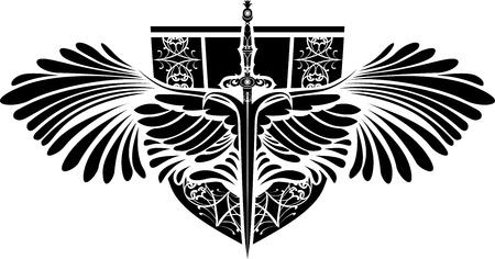 Symbool van bescherming, zwaard met vleugels en schild
