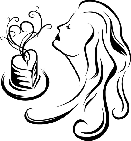 Girl enjoying aroma of coffee, third variant, black stencil Vector