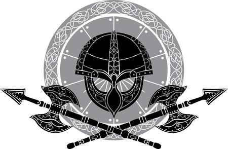 roer: Viking helm met gekruiste bijlen tegen schilden Stock Illustratie