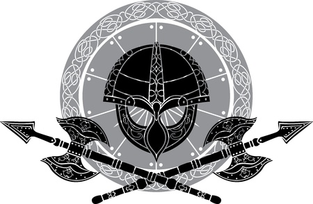 Viking helm with crossed axes against shields Vector