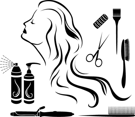 hairbrush: Set for hairdressers, hairdressing accessories and beautiful girl profile, stencil Illustration