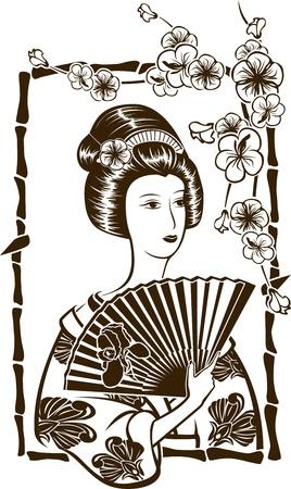 sakuras: Geisha japonesa tradicional con el ventilador, plantilla de etiqueta