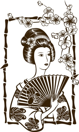 exotic woman: Traditional Japanese Geisha with fan, stencil for stickers