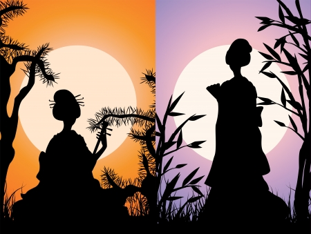 japan culture: Japanese cards, geisha silhouettes at sunset, the two variants Illustration