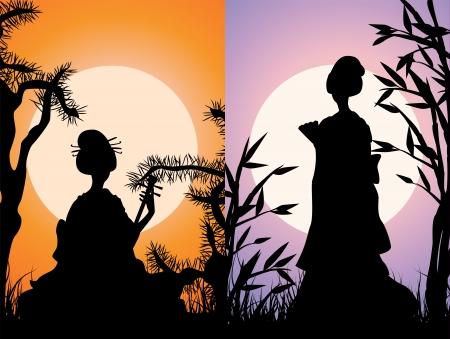 Japanse kaarten, geisha silhouetten bij zonsondergang, de twee varianten