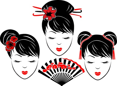 Three portraits of Asian girls with different types of hairstyles, bicolor stencil Stock Vector - 18283449
