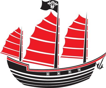 Asian boat stencil for sticker Vector