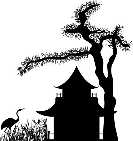 Asian house under a pine tree and a crane in the reeds, silhouette Illustration