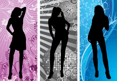 disco silhouette vertical set background Vector