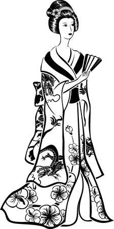 robe: Geisha in traditional costume with a fan, black vector stencil