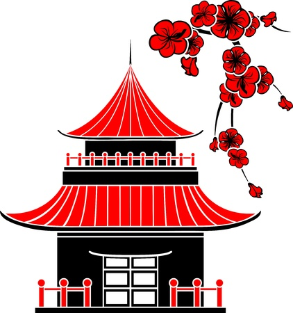 Asian house and cherry blossoms, stencil