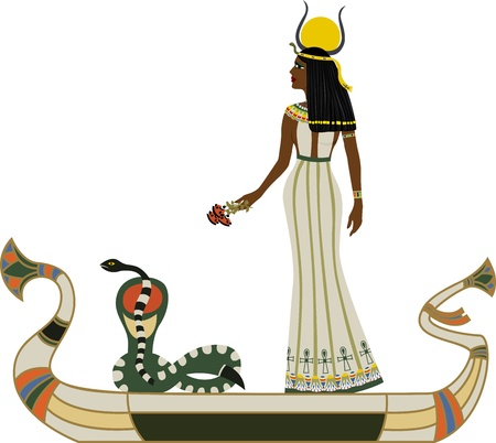 Egyptian God with snake on boat Vector
