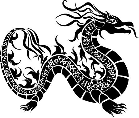 tatouage dragon: Dragon asiatique, pochoir noir Illustration