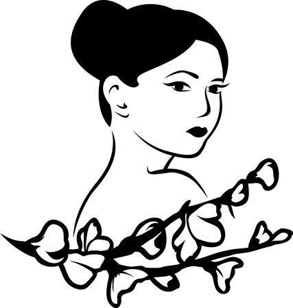 Beautiful Japanese woman with a branch of cherry blossoms, stencil sticker Vector
