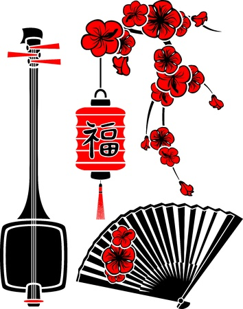 Set of Japanese art, shamisen, sakura, fan and light Vector