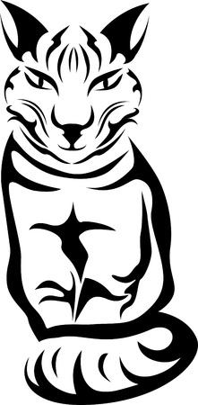 fortune cat: Sitting cat stencil for tattoo Illustration