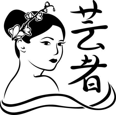 Geisha portrait poster, stencil for stickers Vector