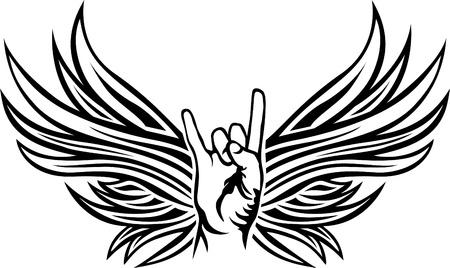 Rock and Roll handteken met vleugels Stock Illustratie