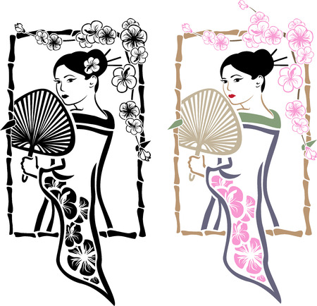 Traditional Japanese Geisha with fan, stencil for stickers second variant Vector
