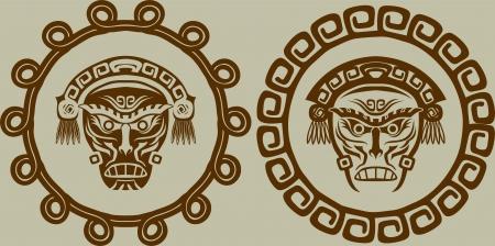 Native American masks in circular pattern Vector
