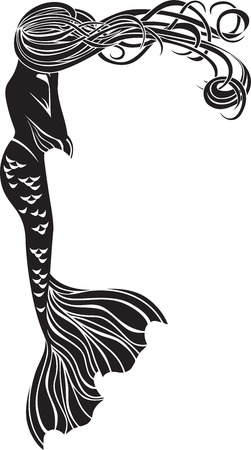 long tail: Crying mermaid stencil for stickers in Art Nouveau style
