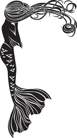 Weinend Meerjungfrau Schablone für Aufkleber im Jugendstil