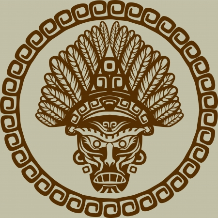 Native American mask in circular pattern second variant Vector