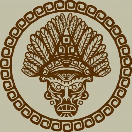 Native American masker in cirkelvormig patroon tweede variant