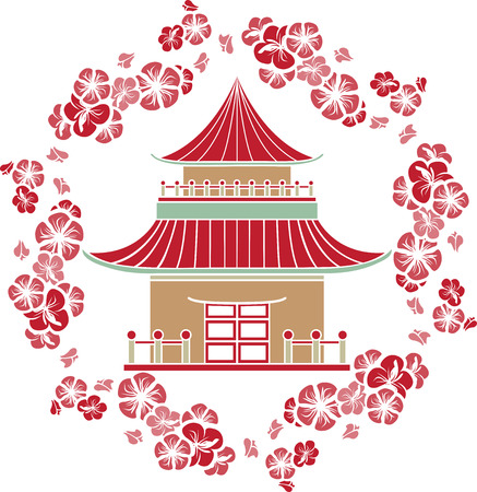 Asian House in a wreath of cherry, stencil Vector