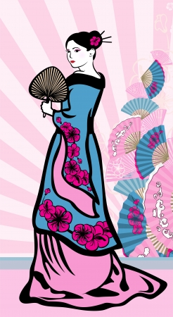 geisha kimono: Japanese vertical background, geisha and a Japanese fan