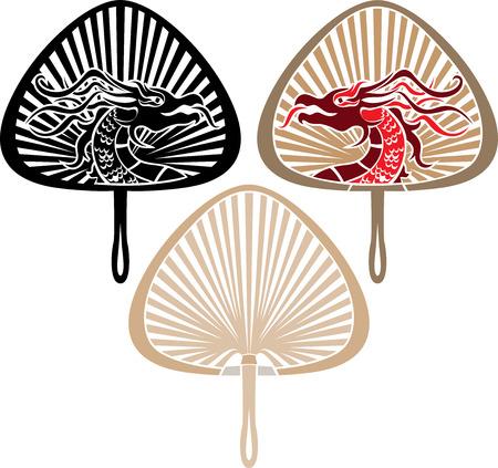 open fan: Asian Japanese fan with a dragon, three variants