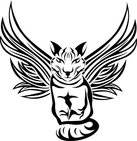 fortune cat: Cat with wings