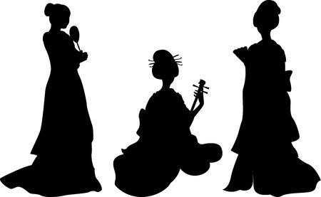 robe: Asian woman, geisha, set of silhouettes