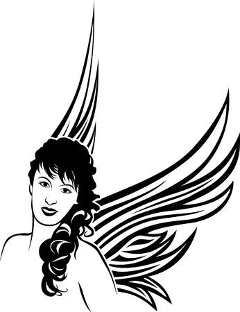 tatouage ange: Fille ange tatouage pochoir