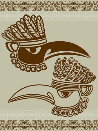 Native American raven mask with pattern, stencil two variants Vector