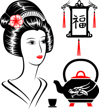 Asian set,  portrait of a beautiful woman,  teapot  and  Japanese lantern Vector