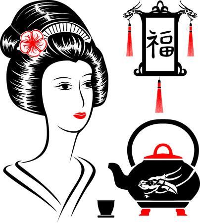 Asian set,  portrait of a beautiful woman,  teapot  and  Japanese lantern