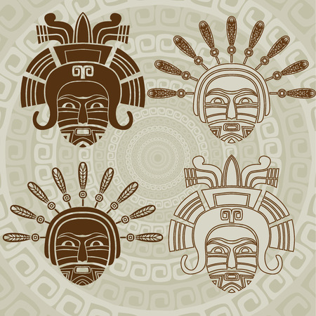 Native American mask stencil and stroke variant Vector