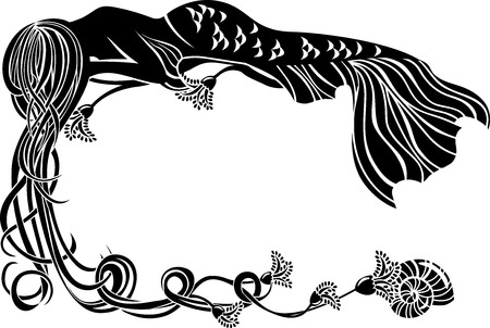 Ornate frame, sleeping mermaid in the Art Nouveau style black stencil