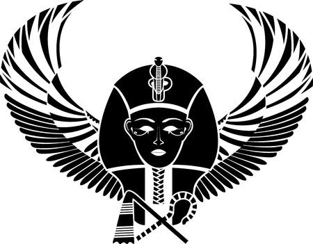 esfinge: Pharaon egipcio con alas de cara completa