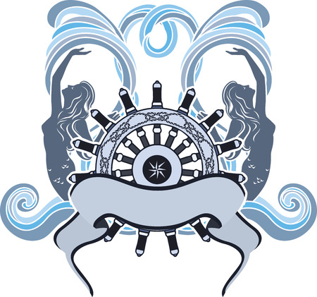 sea nymph: Marine design, emblem, wheel and mermaid on waves