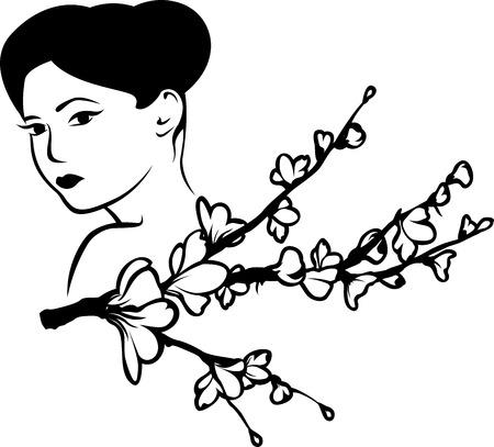 donna giapponese: Bella donna giapponese con un ramo di fiori di ciliegio, adesivo stencil seconda variante