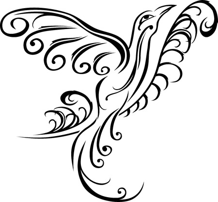 Bird on branch, black tattoo stencil Vector